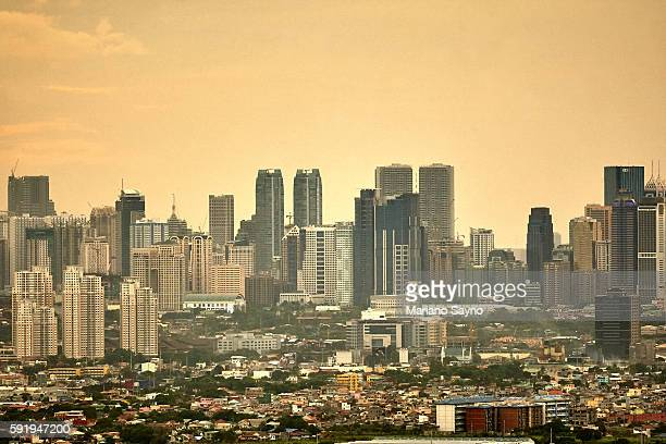 Cityscape in Manila at sunset elevated view