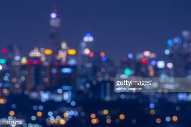 cityscape in middle of bangkok,thailand / focus blur - 滲んだ ストックフォトと画像