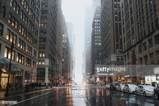 cityscape in winter, new york, usa - low angle view stock pictures, royalty-free photos & images