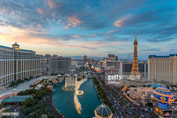 cityscape las vegas skyline at sunset - las vegas stock pictures, royalty-free photos & images
