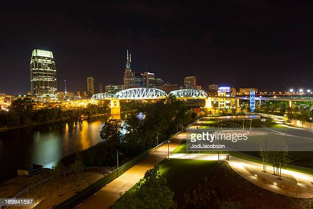 Cityscape: Nashville Tenneese Metro Riverfront Park at night