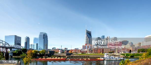 cityscape: nashville tenneese metro riverfront park - nashville stock pictures, royalty-free photos & images