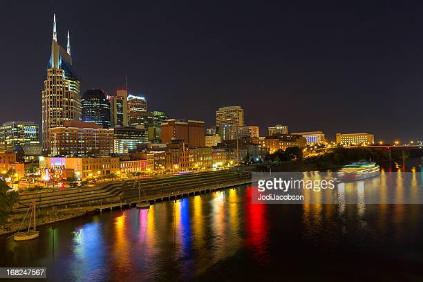 Cityscape: Nashville Tennessee skyline at night or golden hour