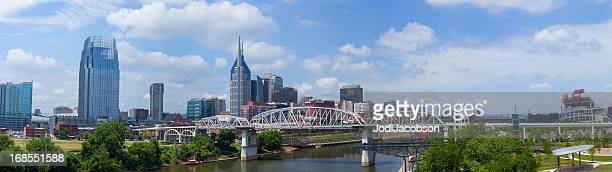 cityscape: nashville tennessee skyline panorama - cumberland usa stock photos and pictures