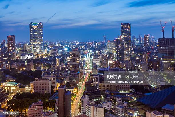 Cityscape night view of center of Tokyo