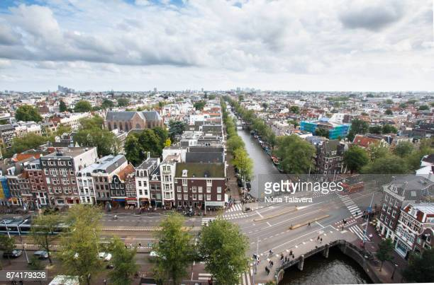Cityscape of Amsterdam: high angle view of the center of the city