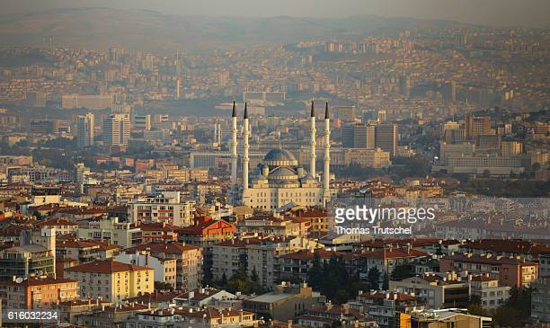 Cityscape of Ankara In the center is the Kocatepe Mosque on October 07 2016 in Ankara Turkey
