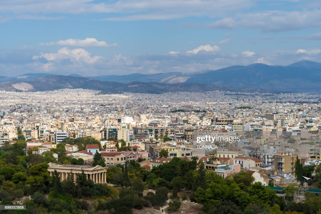 Cityscape of Athens from Areopagus Hill, Athens, Greece : Foto de stock
