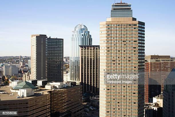 cityscape of back bay, boston, massachusetts - thinkstock stock-fotos und bilder