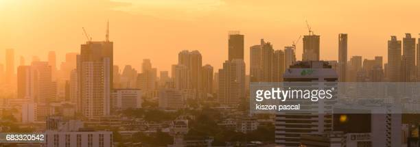 cityscape of Bangkok during sunset ( Thailand , Asia )