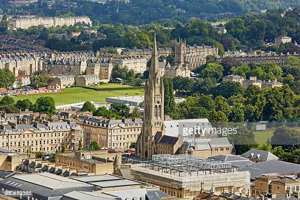 cityscape of bath with saint john church spire - bath england stock pictures, royalty-free photos & images
