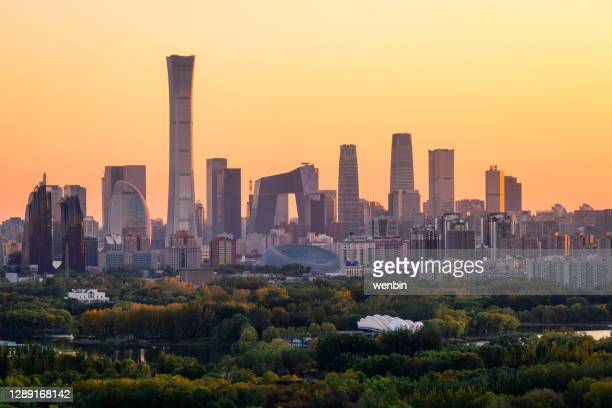 cityscape of beijing,china.the central business district of beijing - beijing stock pictures, royalty-free photos & images