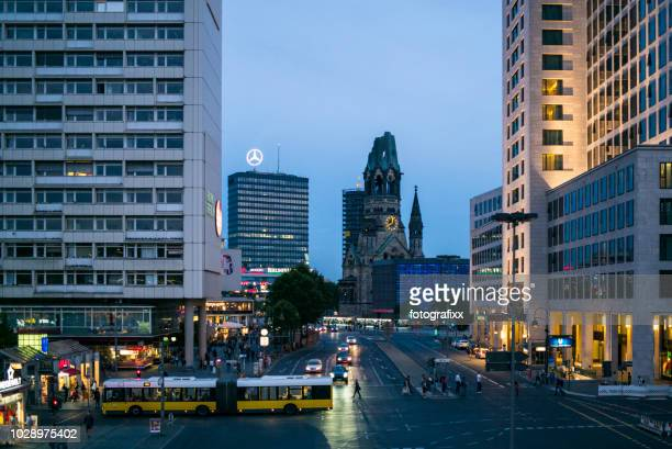 cityscape of berlin city west, waldorf astoria and kaiser wilhelm memorial church - kurfürstendamm stock pictures, royalty-free photos & images