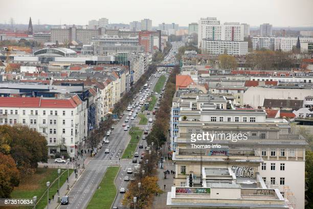 Cityscape of Berlin View over Frankfurter Allee in east direction on October 21 2017 in Berlin Germany