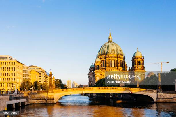Cityscape of Berlin with Spree River and Berlin Cathedral during sunset, Berlin, Germany