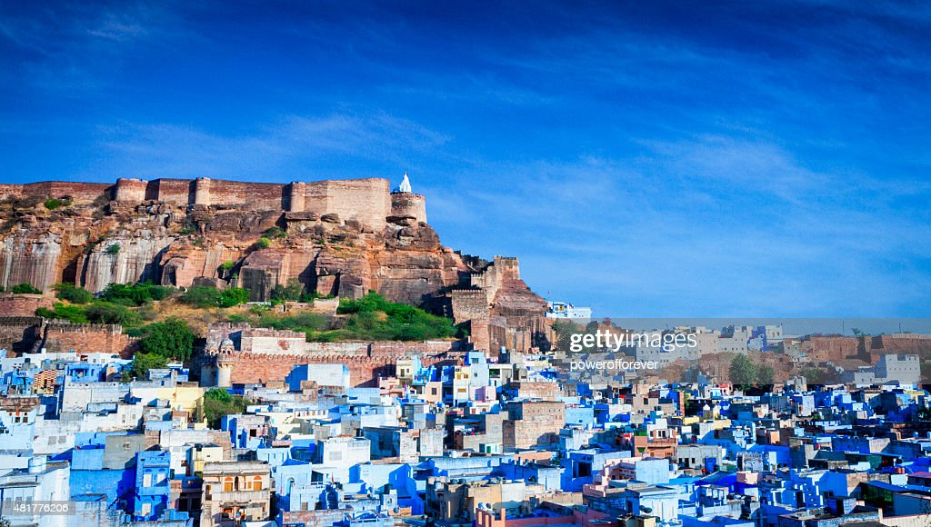 Cityscape of Blue City and Mehrangarh Fort - Jodhpur, India : Stock Photo