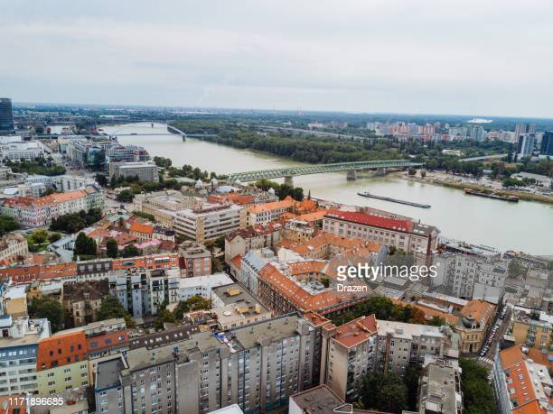 cityscape of bratislava, elevated point of view of downtown and old town of the city - bratislava stock pictures, royalty-free photos & images