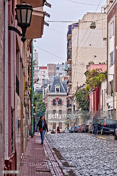 Cityscape of Buenos Aires showing a narrow street of San Telmo San Telmo is one of the oldest neighborhoods of Buenos Aires Buenos Aires Argentina...