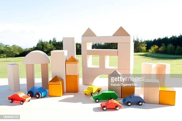 Cityscape of building blocks