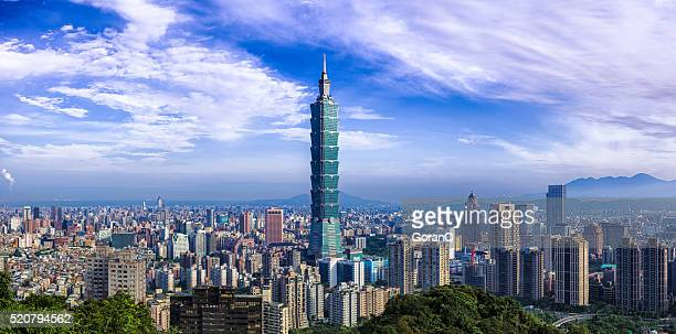 cityscape of central of taipei , taiwan - taipei stock pictures, royalty-free photos & images