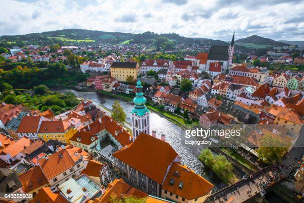 cityscape of cesky krumlov - cesky krumlov castle stock photos and pictures