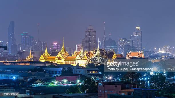 Cityscape of Chakri Maha Prasat withe Grand Palace in bangkok thailand
