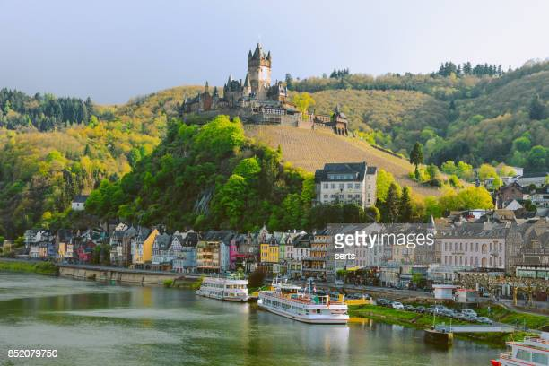cityscape of cochem and the river moselle, germany - rhine river stock pictures, royalty-free photos & images