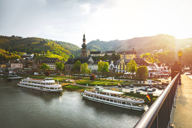 cityscape of cochem and the river moselle, germany - germany stock pictures, royalty-free photos & images