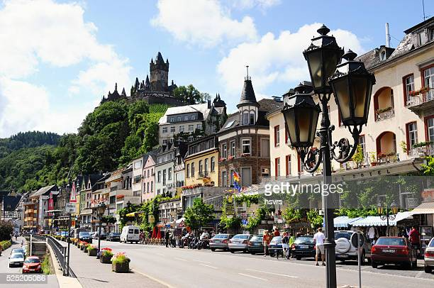 Cityscape of Cochem with its typical half-timbered houses and re
