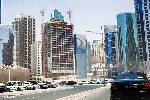 Cityscape of Doha construction site downtown on June 01 in Doha Qatar