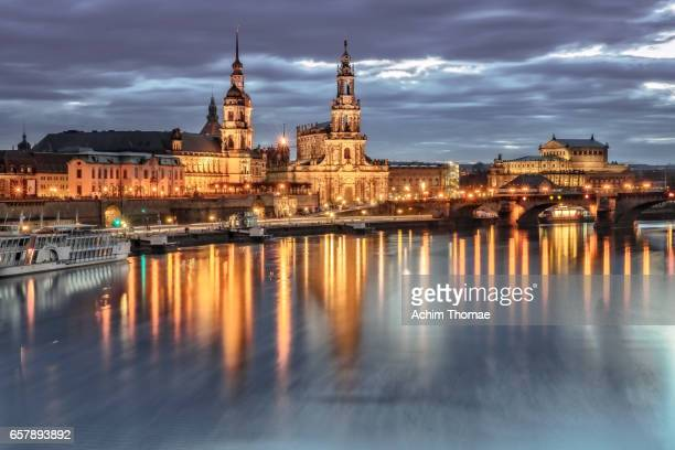 cityscape of dresden, saxony, germany, europe - stadtsilhouette stock pictures, royalty-free photos & images