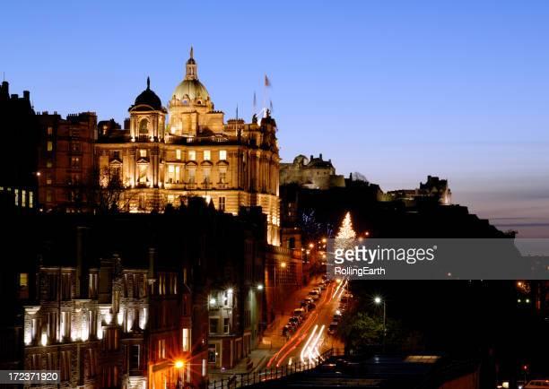 Cityscape of Edinburgh by night