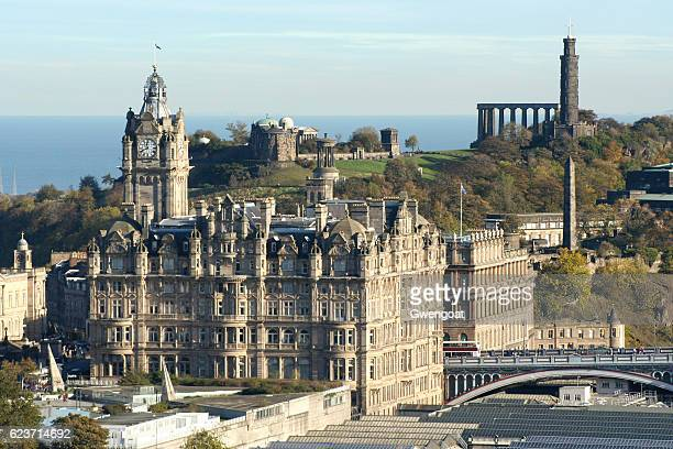 cityscape of edinburgh - balmoral hotel stock photos and pictures