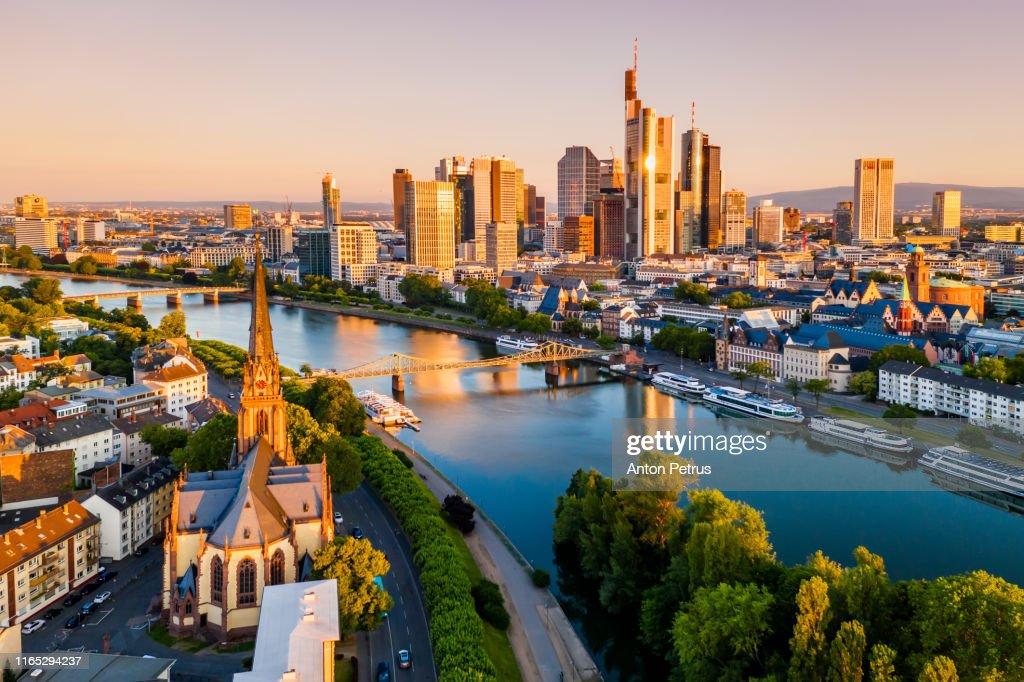 Cityscape of Frankfurt am Main at sunrise. Aerial view : Stock Photo