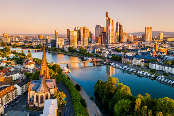 cityscape of frankfurt am main at sunrise. aerial view - germany stock pictures, royalty-free photos & images