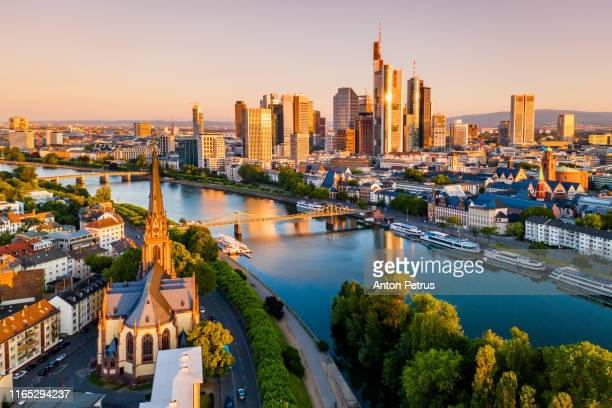 cityscape of frankfurt am main at sunrise. aerial view - frankfurt am main stock-fotos und bilder