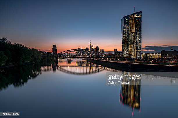 cityscape of frankfurt am main, germany - european central bank stock pictures, royalty-free photos & images