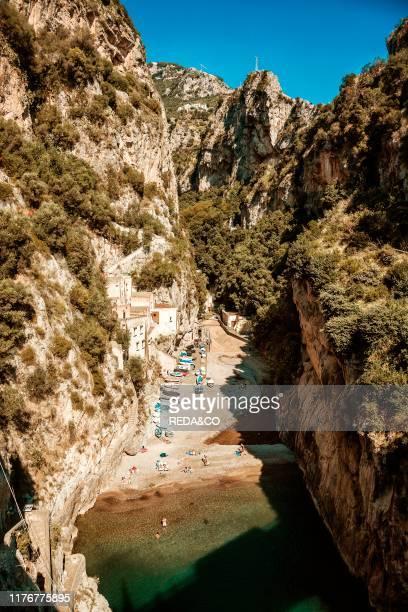 Cityscape of Furore village Amalfi Coast Campania Italy Europe