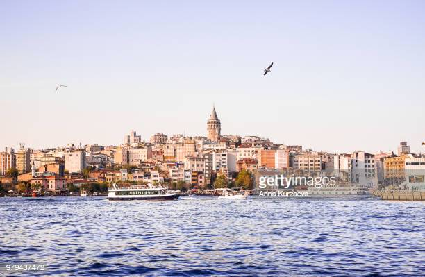 cityscape of galata (modern karakoy) district with galata tower in istanbul, turkey. image with copy space. - istanbul photos et images de collection