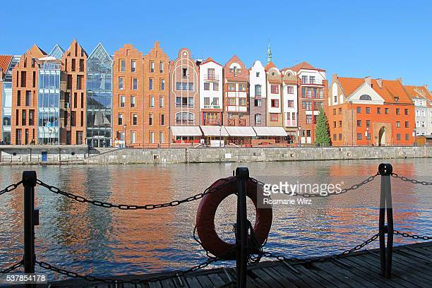 cityscape of gdansk: view across the motlawa river - motlawa river stock pictures, royalty-free photos & images