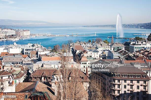 Cityscape of Geneva, lake Geneva, Jet d'Eau
