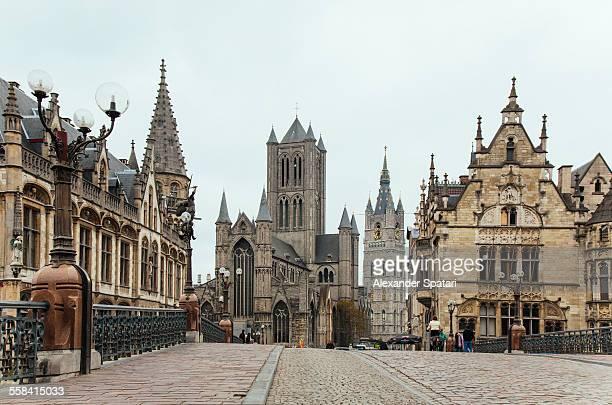 cityscape of ghent, belgium - ベルギー ゲント ストックフォトと画像