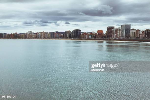 Cityscape of Gijon from the sea