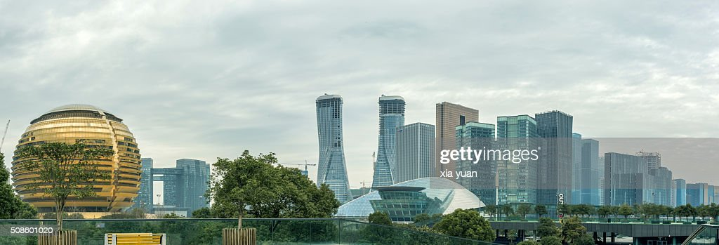 Cityscape of Hangzhou′s newly developed Qianjiang New Town business district : Stock Photo