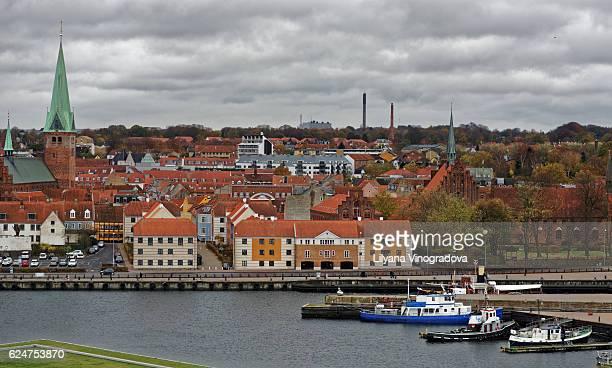 cityscape of helsingor, denmark - helsingor stock pictures, royalty-free photos & images