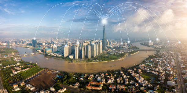 Cityscape of Ho Chi Minh City in Vietnam and network connection concept , Network in center of heart business district near Saigon river