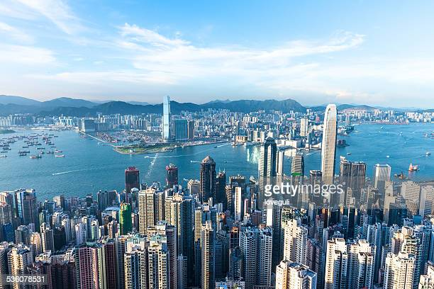 cityscape of hongkong with blue sky