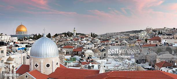 Cityscape of Jerusalem's highlights at down.