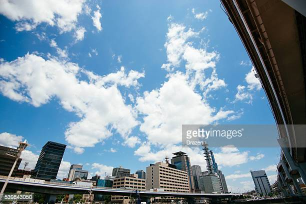 Cityscape of Kobe, Japan on sunny summer day