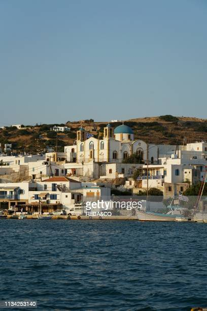 Cityscape of Lipsi village and the Holy Monastery of St. John the Theologian. Greek Orthodox Church. Lipsi village. Lipsi or Lissos island. Southern...